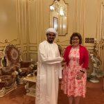 Meeting between Sheikh Khalifa Bin Khalid Bin Ahmed Bin Hamed Al Hamed and Her Excellency Mrs. Barbara A. Lea (American Ambassador of UAE).